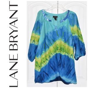 Lane Bryant Tie Dye TunicTop Blue Green Sz 26/28